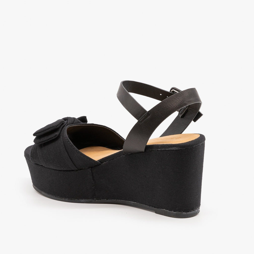 Womens Bow Tie Platform Wedges - Bamboo Shoes