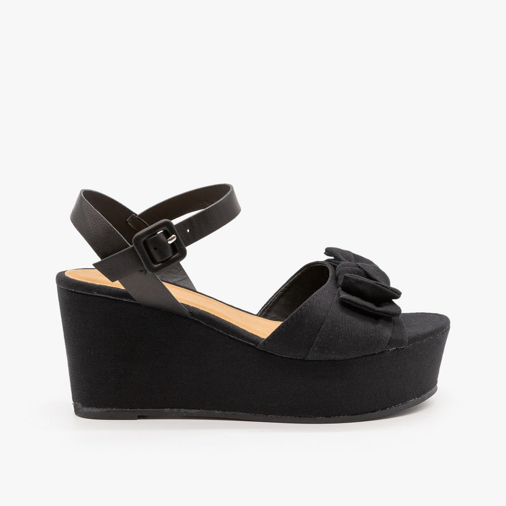Womens Bow Tie Platform Wedges - Bamboo Shoes - Black / 5