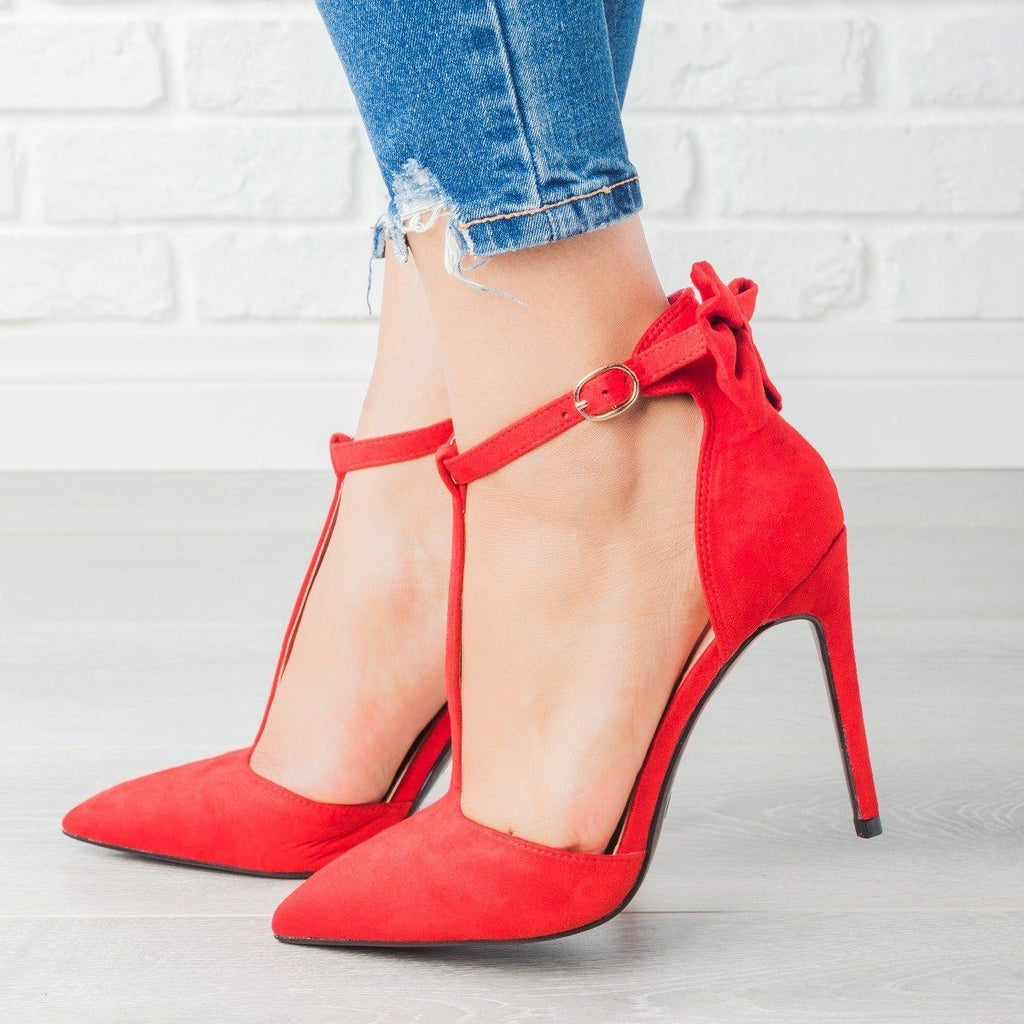 Womens Bow Tie T-Strap High Heels - Bella Marie - Red / 5