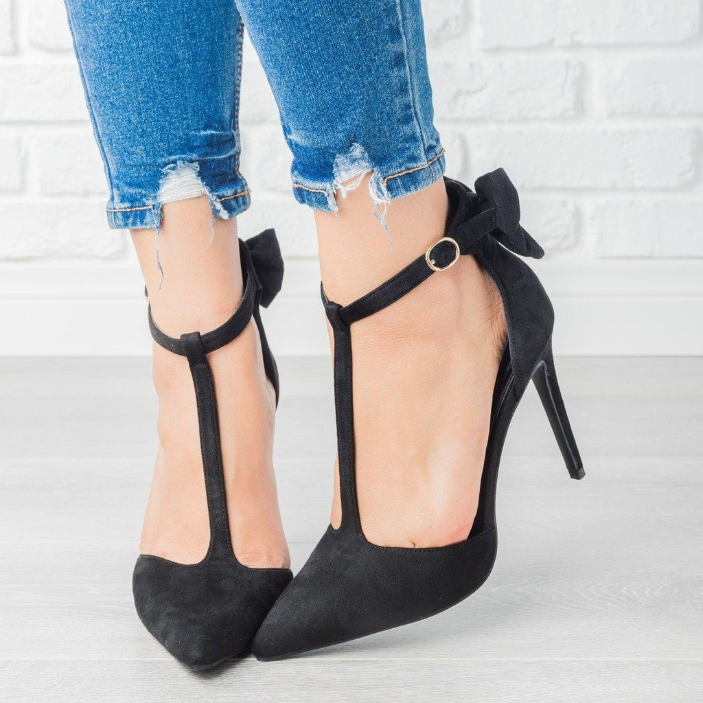 Womens Bow Tie T-Strap High Heels - Bella Marie - Black / 5