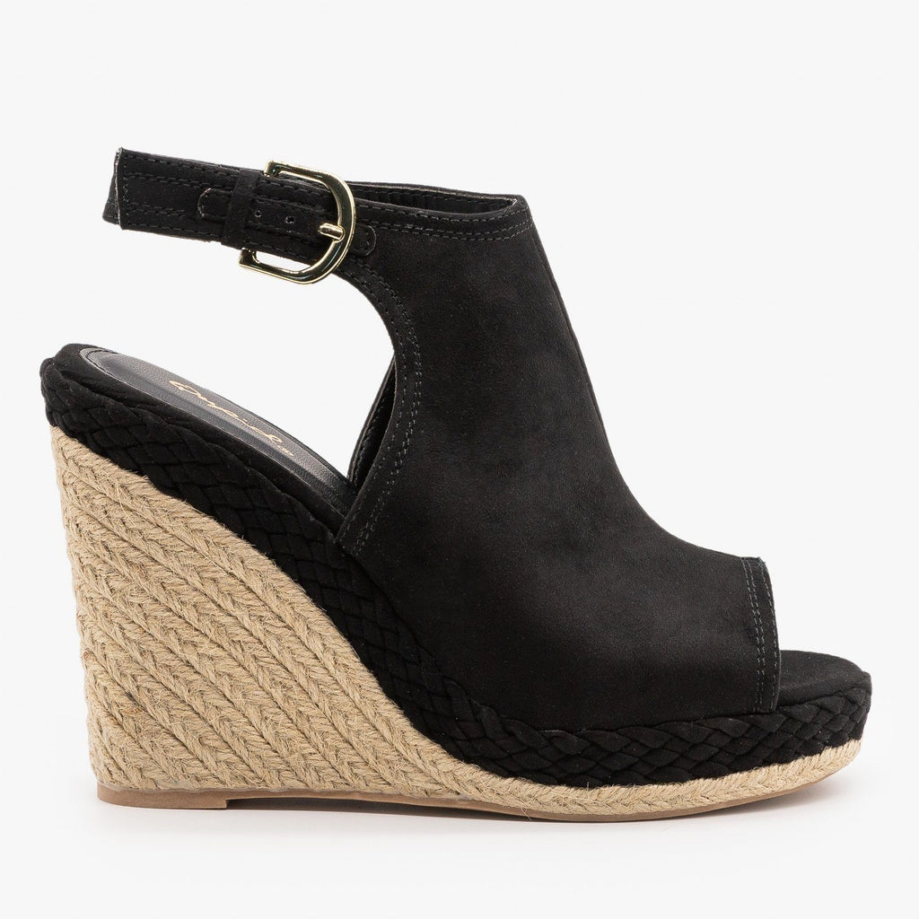 Womens Braid and Espadrille Trimmed Wedge Sandals - Qupid Shoes - Black / 5