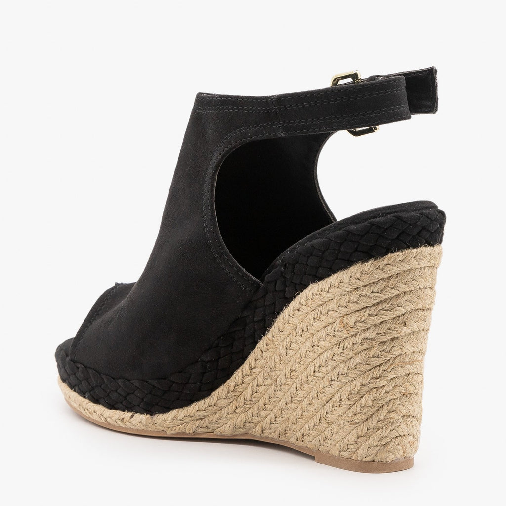 Womens Braid and Espadrille Trimmed Wedge Sandals - Qupid Shoes