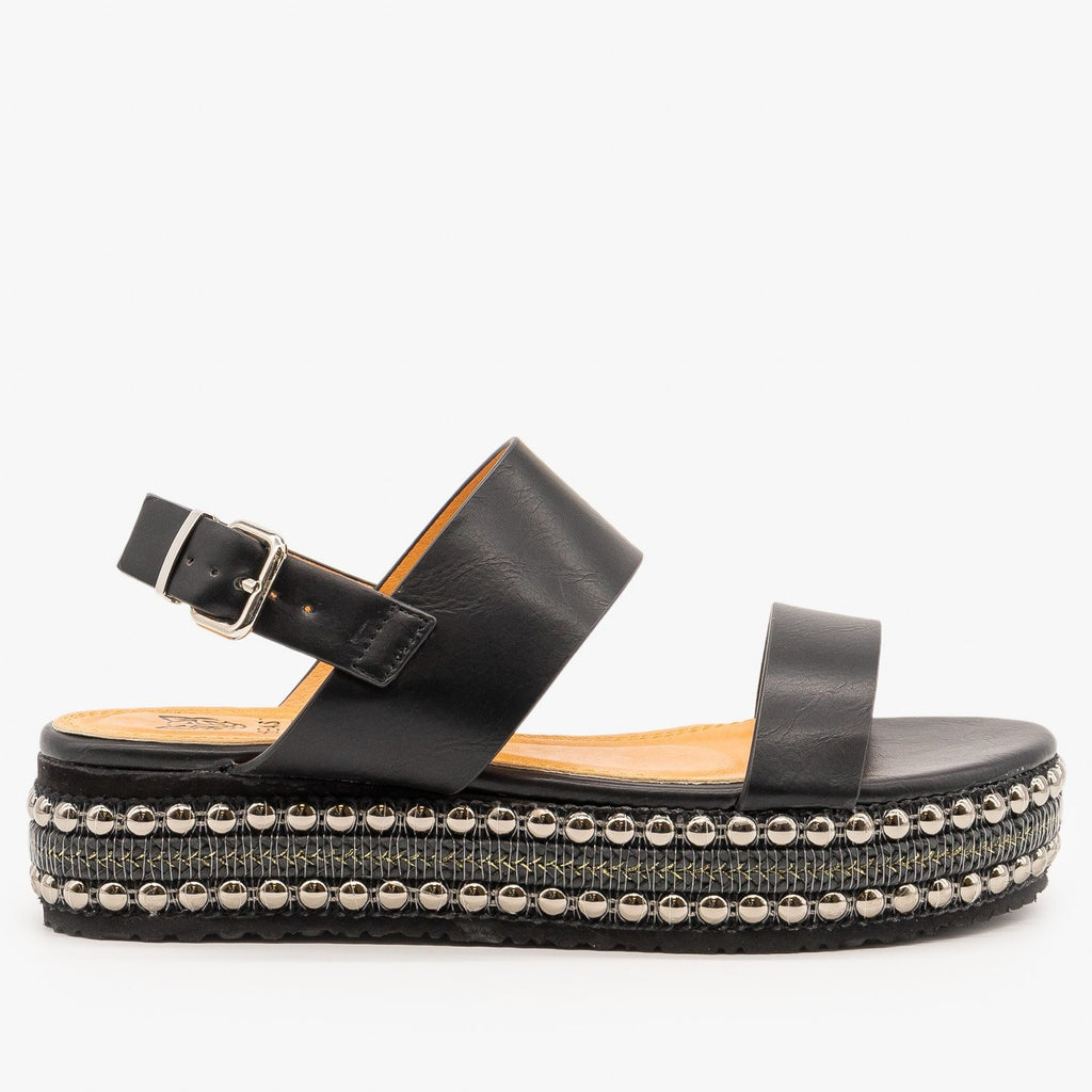 Womens Braid and Stud Trimmed Flatform Sandals - Beast Shoes - Black / 5