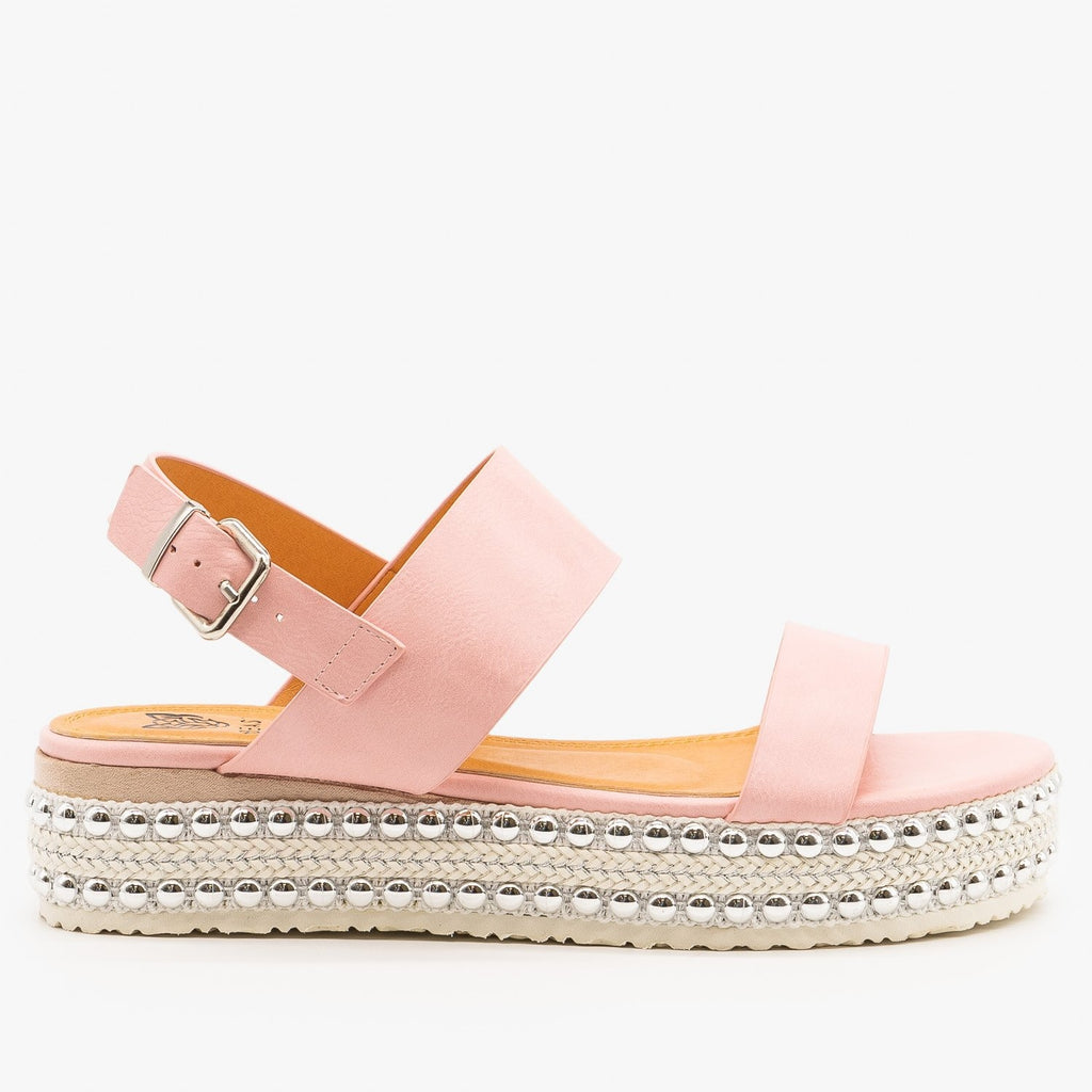 Womens Braid and Stud Trimmed Flatform Sandals - Beast Shoes - Pink / 5