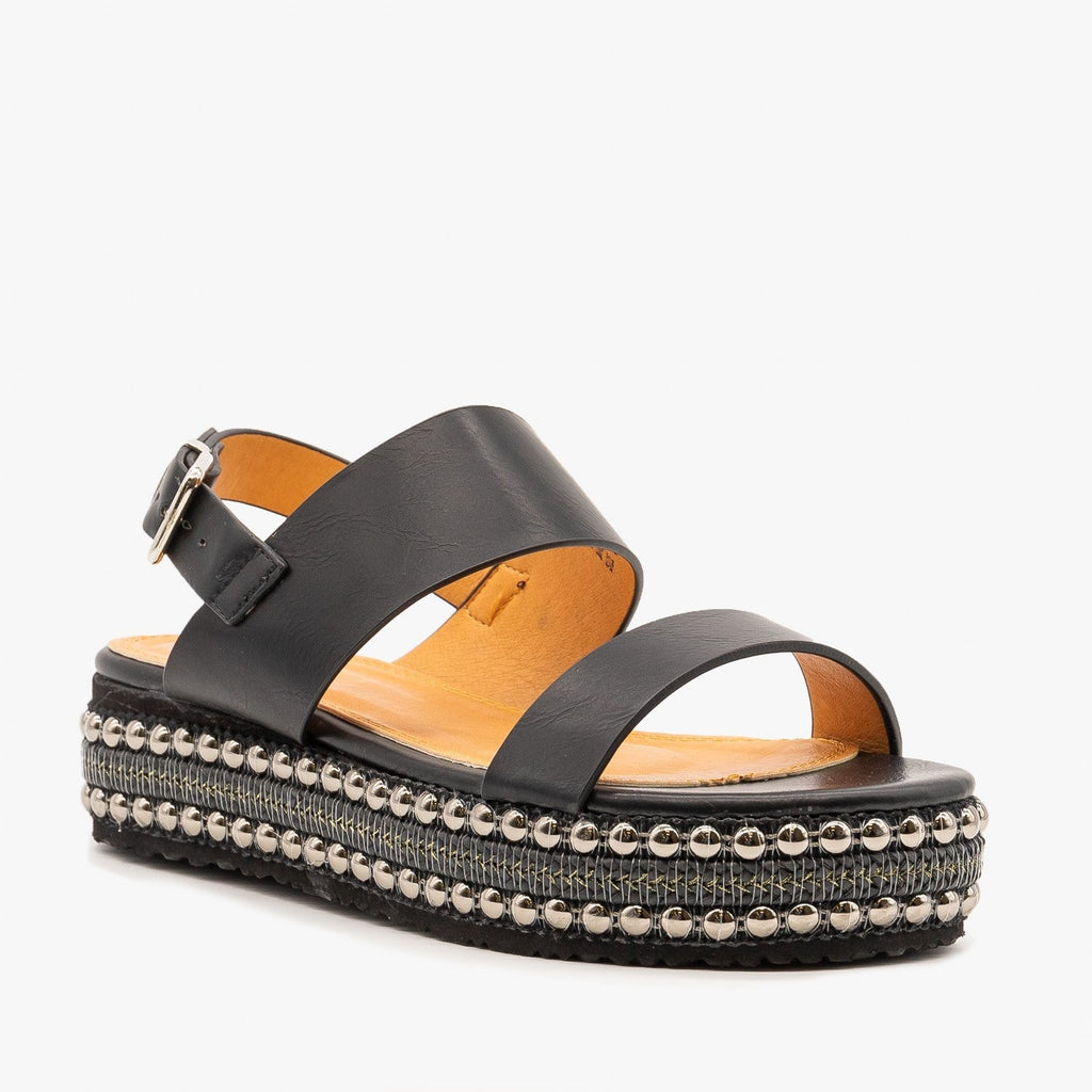 Womens Braid and Stud Trimmed Flatform Sandals - Beast Shoes