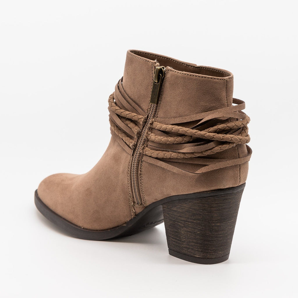 Womens Braided Accent Ankle Booties - Bamboo Shoes