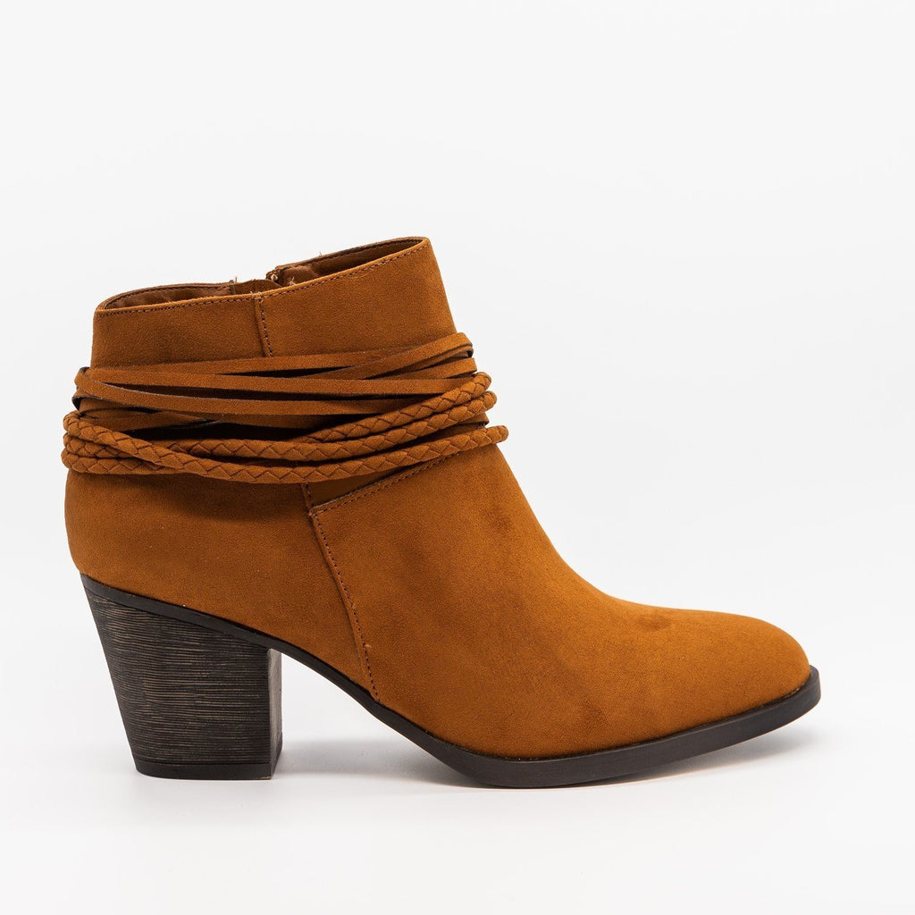 Womens Braided Accent Ankle Booties - Bamboo Shoes - Cognac / 5