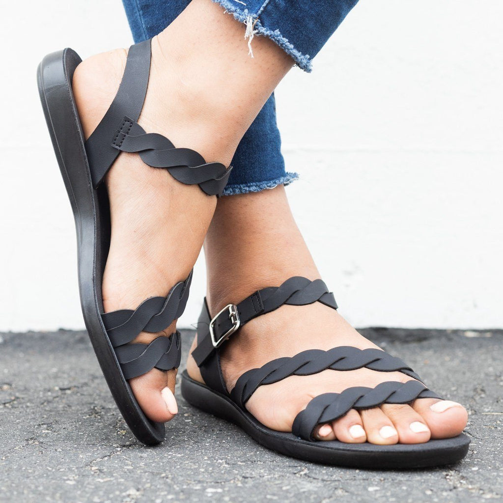 Womens Braided Ankle Strap Sandals - Qupid Shoes - Black / 6