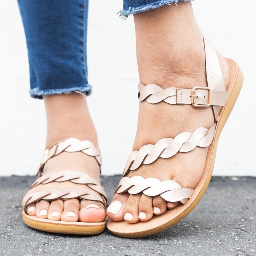 Womens Braided Ankle Strap Sandals - Qupid Shoes - Rose Gold / 11
