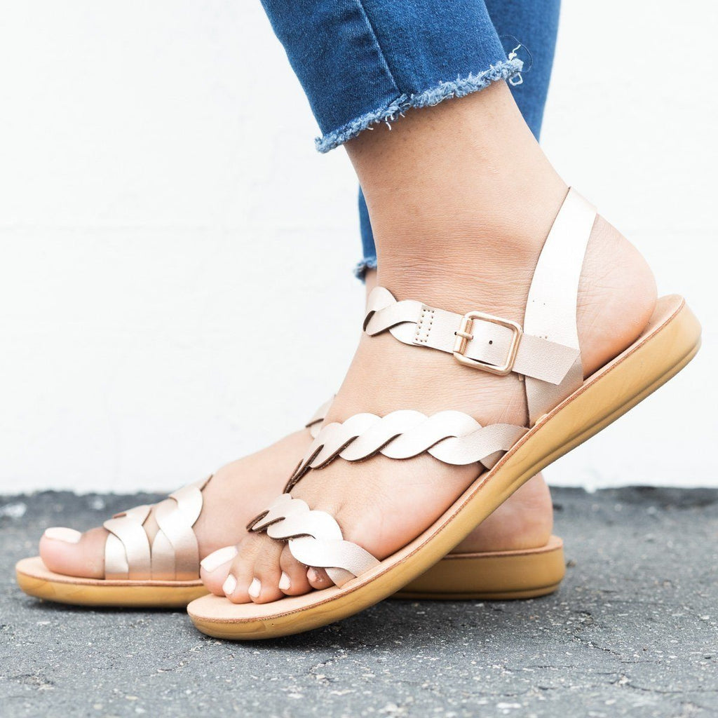 Womens Braided Ankle Strap Sandals - Qupid Shoes