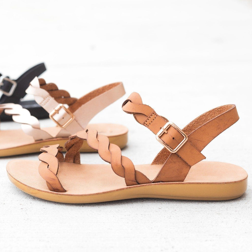 Womens Braided Ankle Strap Sandals - Qupid Shoes - Camel / 8.5