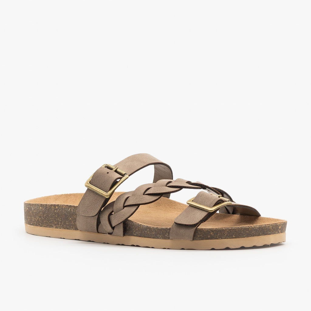 Womens Braided Buckle Strap Slide Sandal - Soda Shoes - Dark Brown / 5