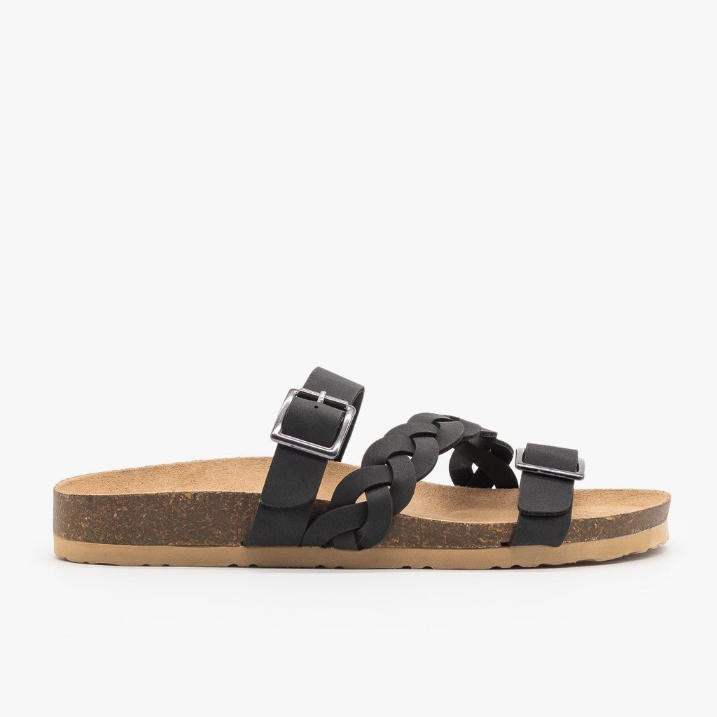 Womens Braided Buckle Strap Slide Sandal - Soda Shoes