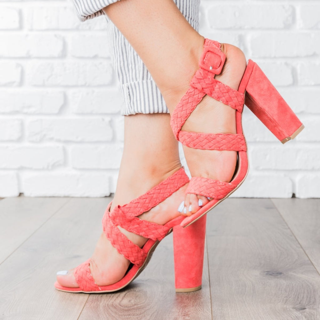 Womens Braided Criss Cross Strap Heels - Qupid Shoes - Coral / 5