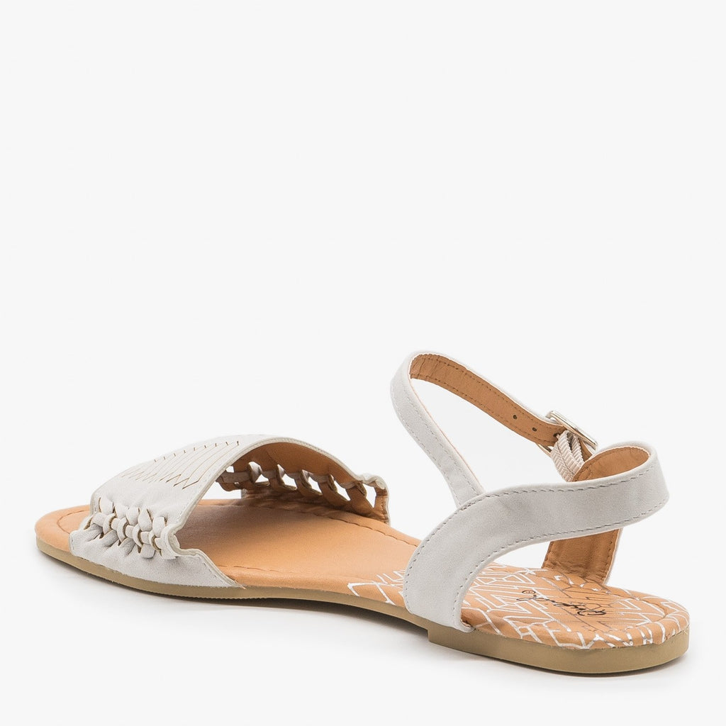 Women's Braided Open Toed Sandals - Qupid Shoes