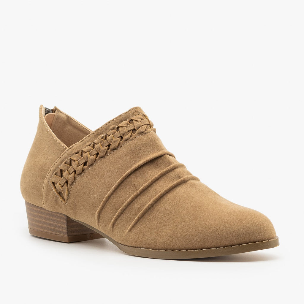 Womens Braided Scrunched Ankle Booties - AMS Shoes - Taupe / 5