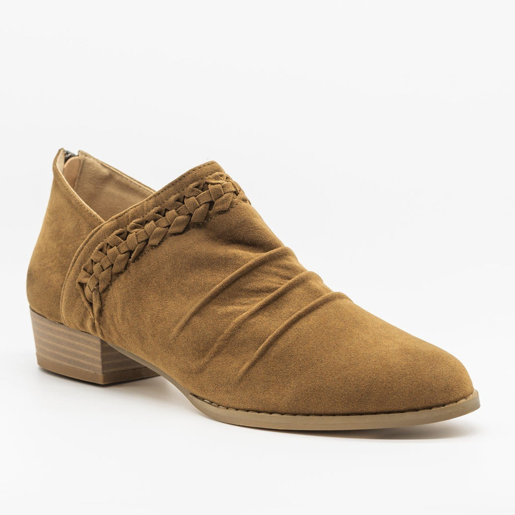 Womens Braided Scrunched Ankle Booties - AMS Shoes - Tan / 5