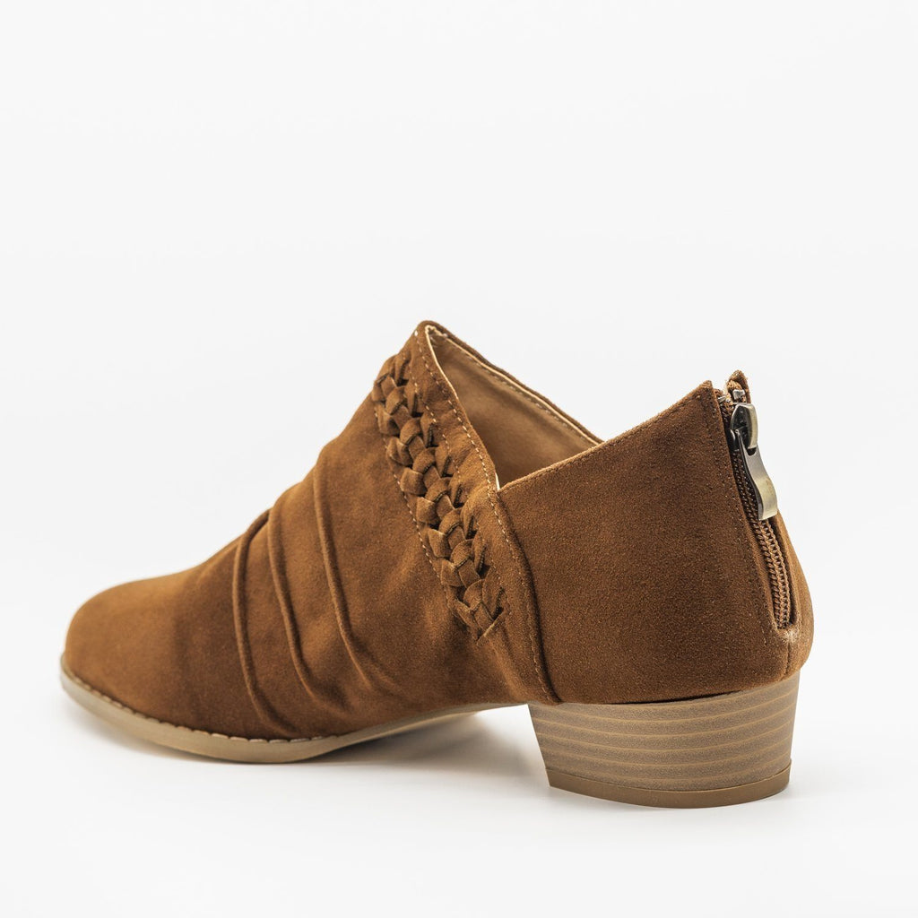 Womens Braided Scrunched Ankle Booties - AMS Shoes