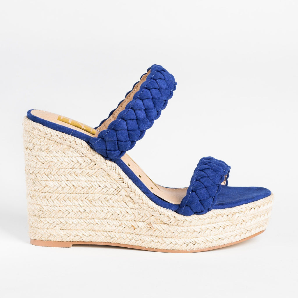 Womens Braided Slip-On Espadrille Wedges - Fahrenheit - Blue / 5