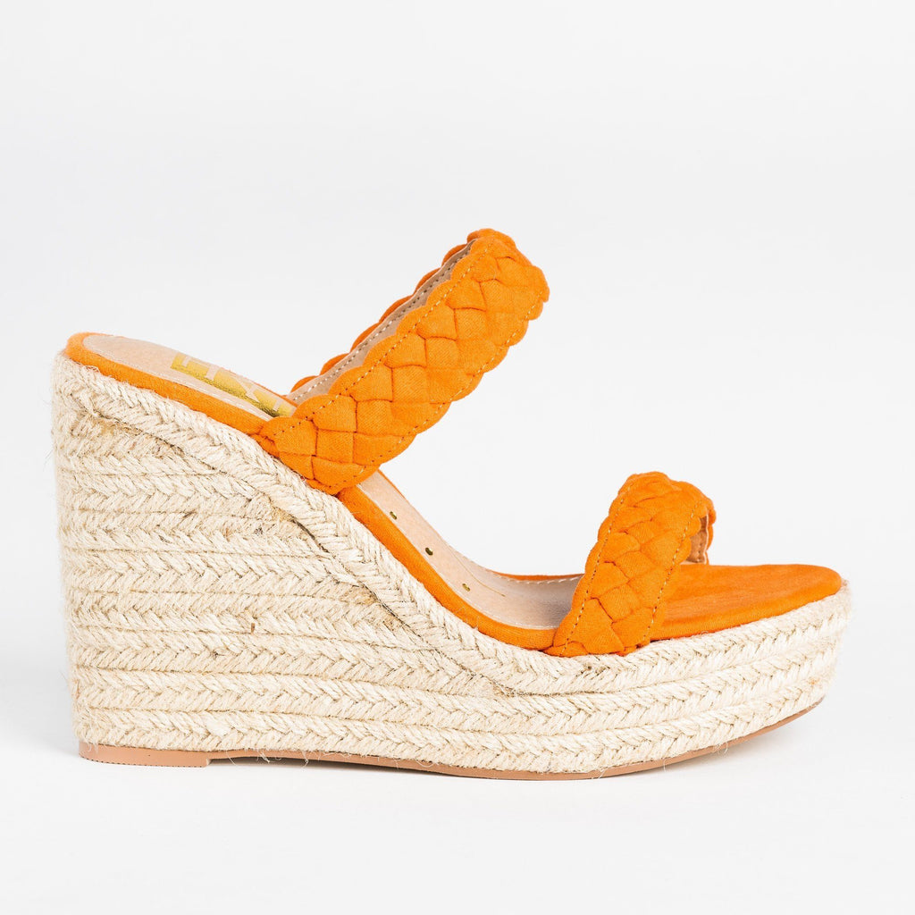 Womens Braided Slip-On Espadrille Wedges - Fahrenheit - Orange / 5