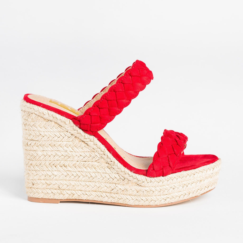 Womens Braided Slip-On Espadrille Wedges - Fahrenheit - Red / 5