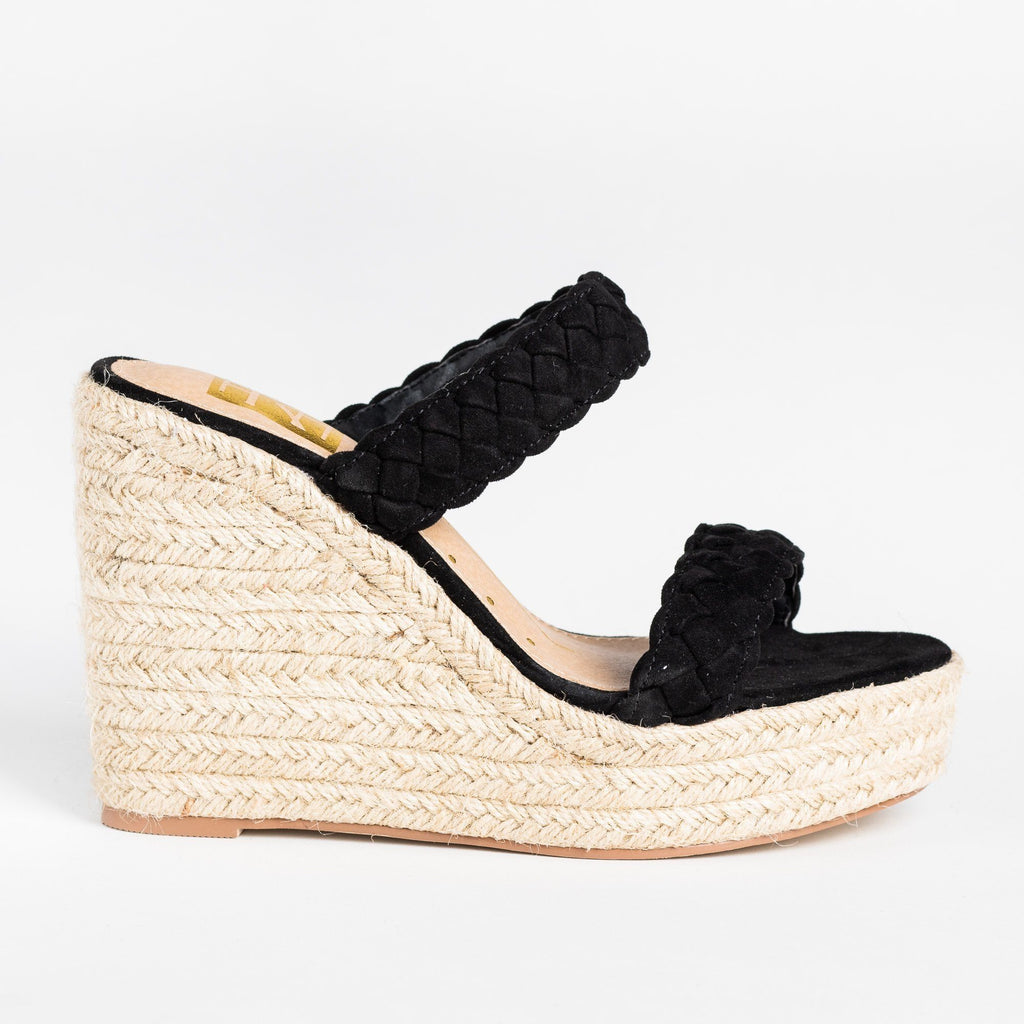 Womens Braided Slip-On Espadrille Wedges - Fahrenheit - Black / 5