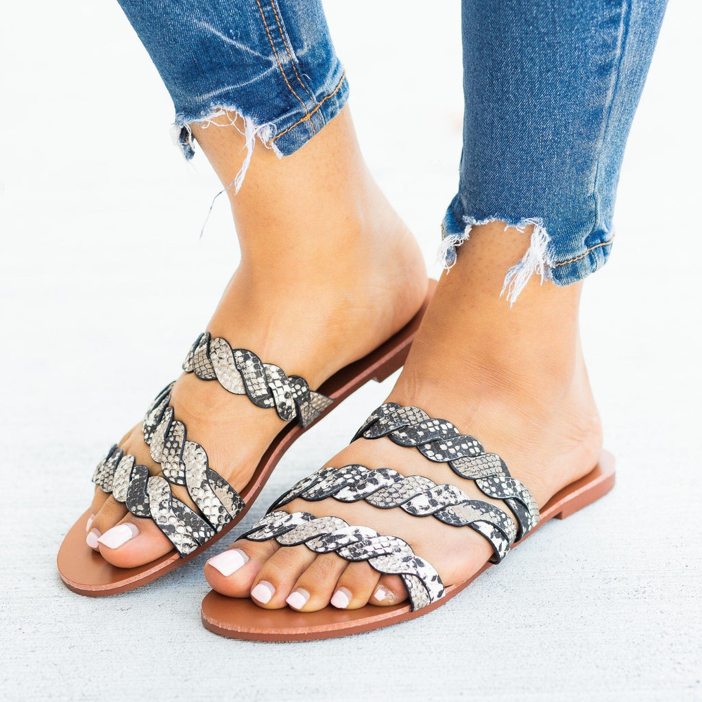 Womens Braided Slip-On Sandals - Qupid Shoes