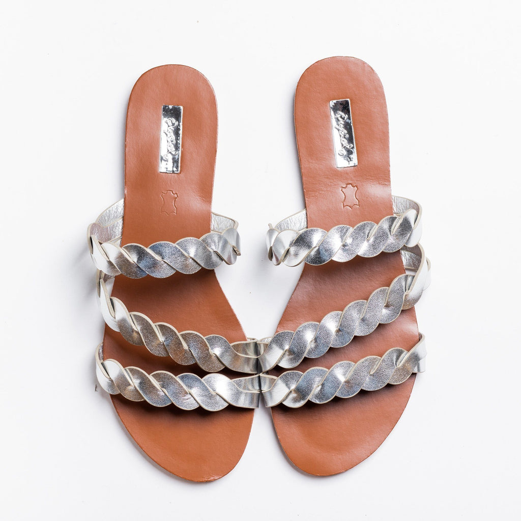 Womens Braided Slip-On Sandals - Qupid Shoes - Silver / 5
