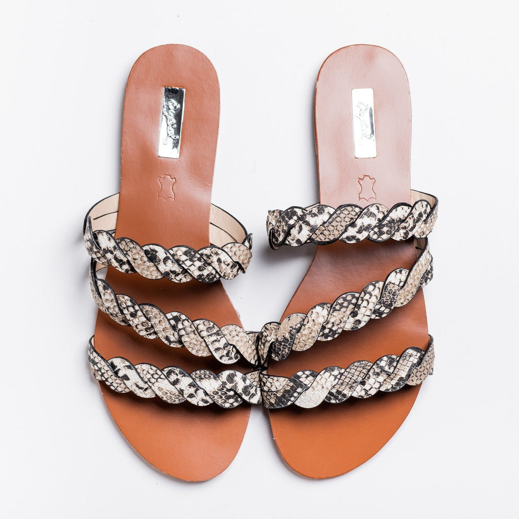 Womens Braided Slip-On Sandals - Qupid Shoes - Snake / 5