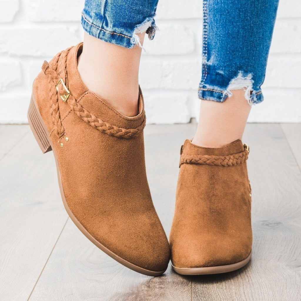 Womens Braided Strap Ankle Booties - Soda Shoes - Chestnut / 5
