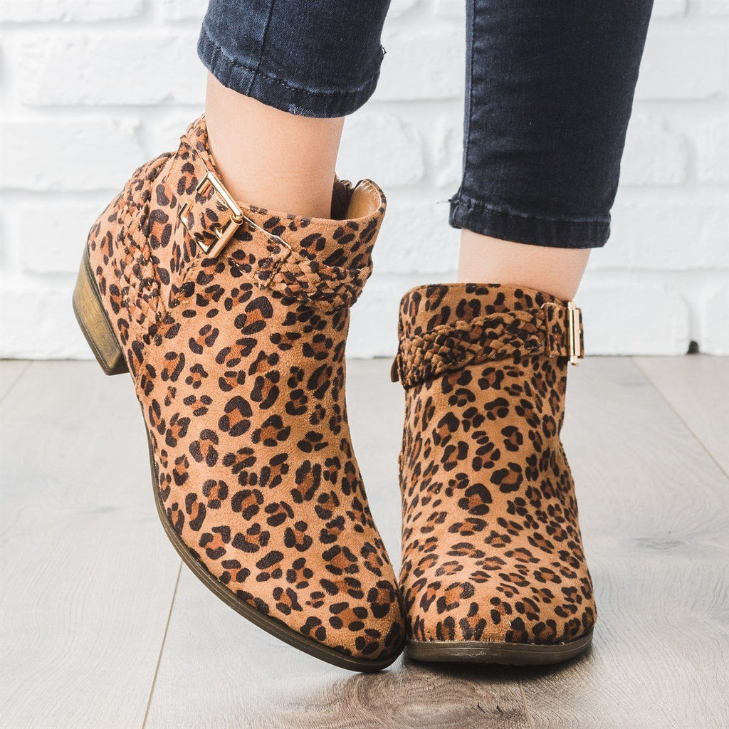 Womens Braided Strap Ankle Booties - Weeboo - Leopard / 6