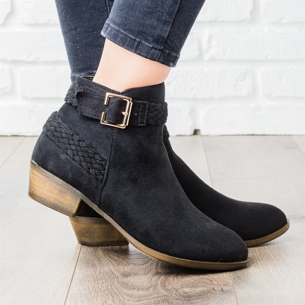 Womens Braided Strap Ankle Booties - Weeboo