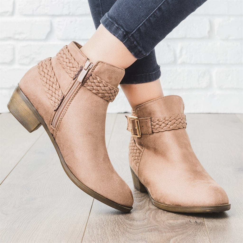 Womens Braided Strap Ankle Booties - Weeboo - Taupe / 5