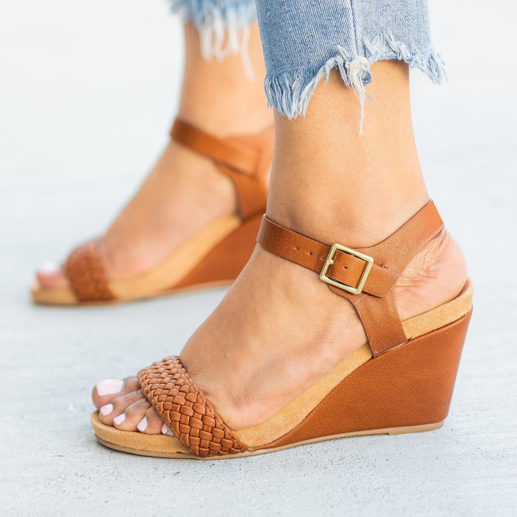 Womens Braided Strap Comfort Wedges - Qupid Shoes