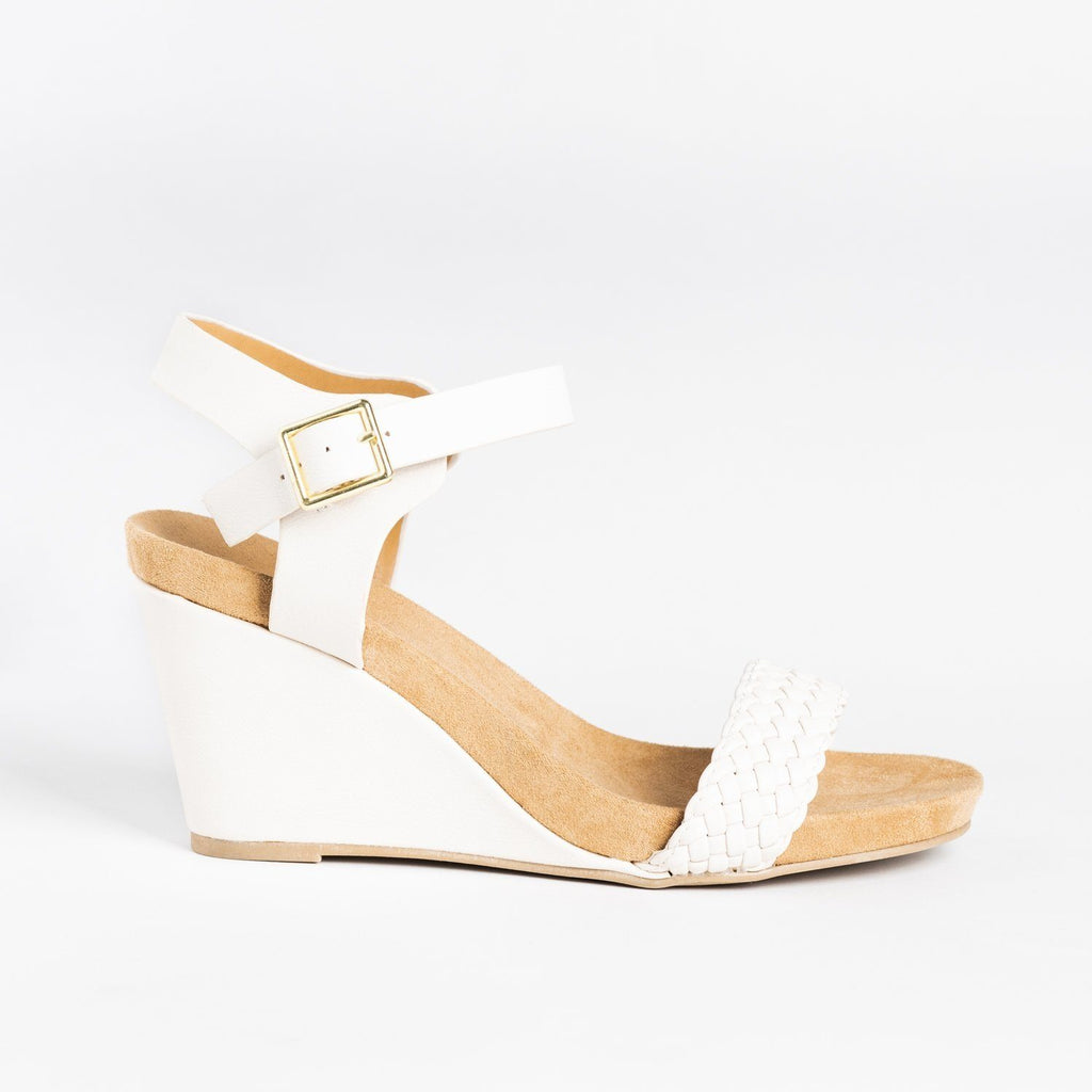 Womens Braided Strap Comfort Wedges - Qupid Shoes - Nude / 5