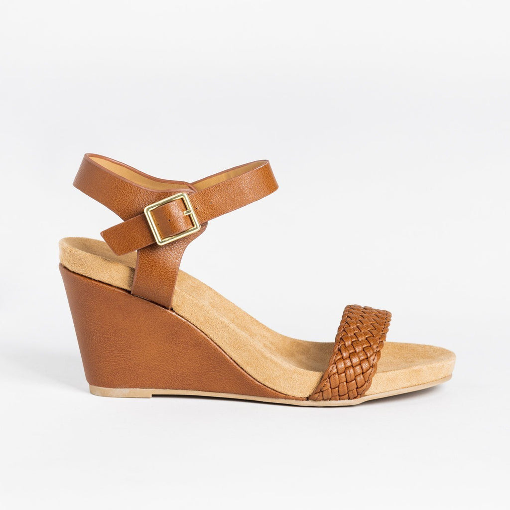 Womens Braided Strap Comfort Wedges - Qupid Shoes - Camel / 5