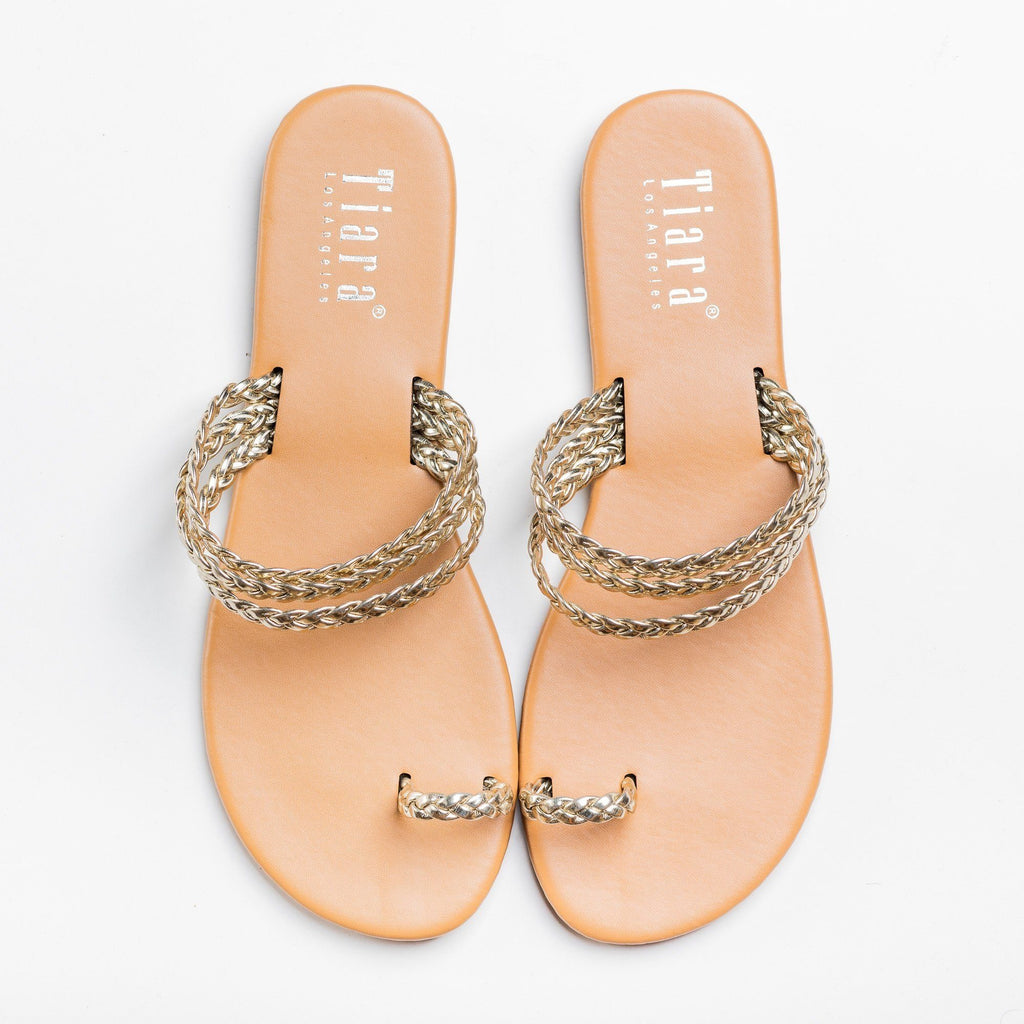 Womens Braided Strappy Toe Hold Sandals - Tiara Shoes - Light Gold / 5