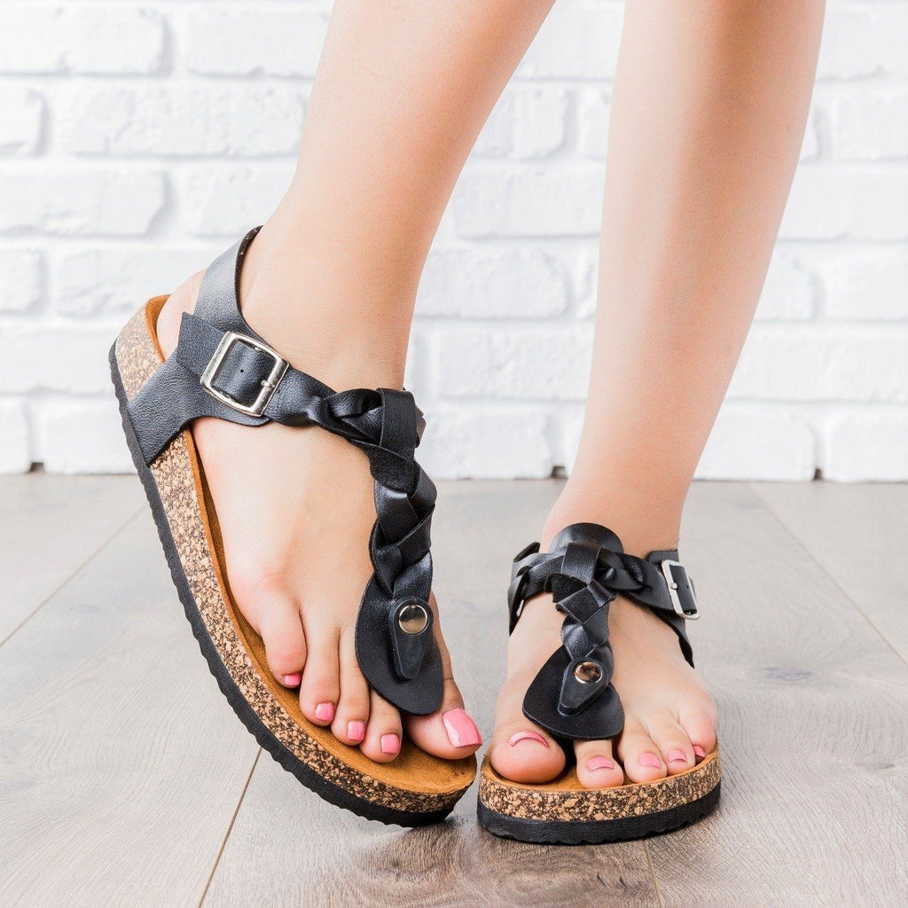 Womens Braided T-Strap Cork Sandals - Anna Shoes - Black / 6.5