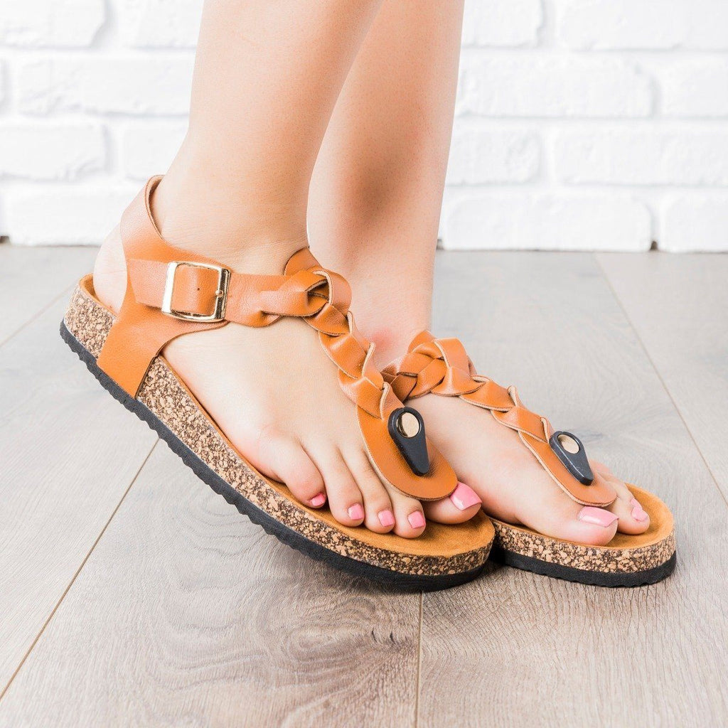 Womens Braided T-Strap Cork Sandals - Anna Shoes - Tan / 8.5