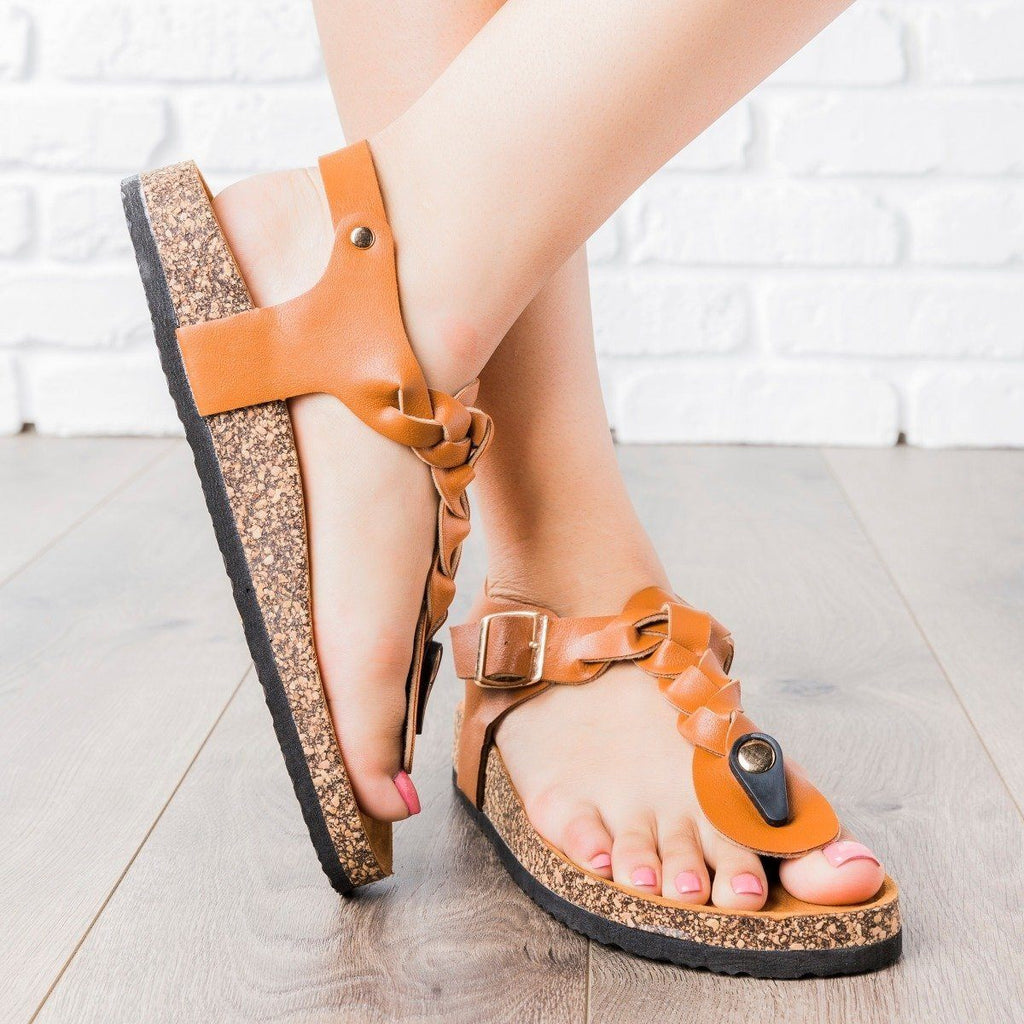 Womens Braided T-Strap Cork Sandals - Anna Shoes