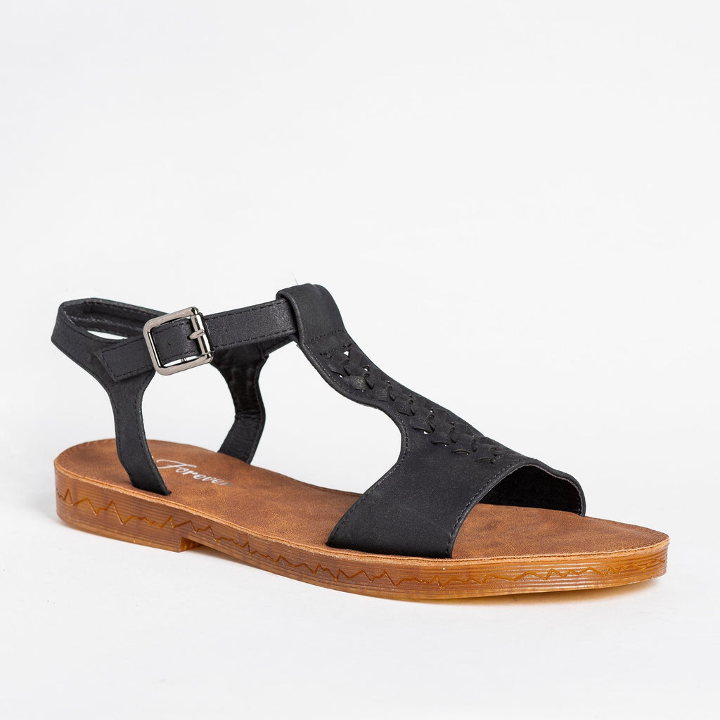 Womens Braided T-Strap Sandals - Forever - Black / 5