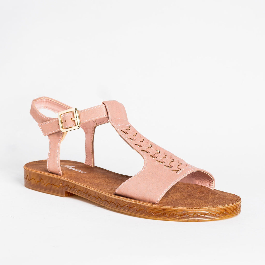 Womens Braided T-Strap Sandals - Forever - Dusty Pink / 5