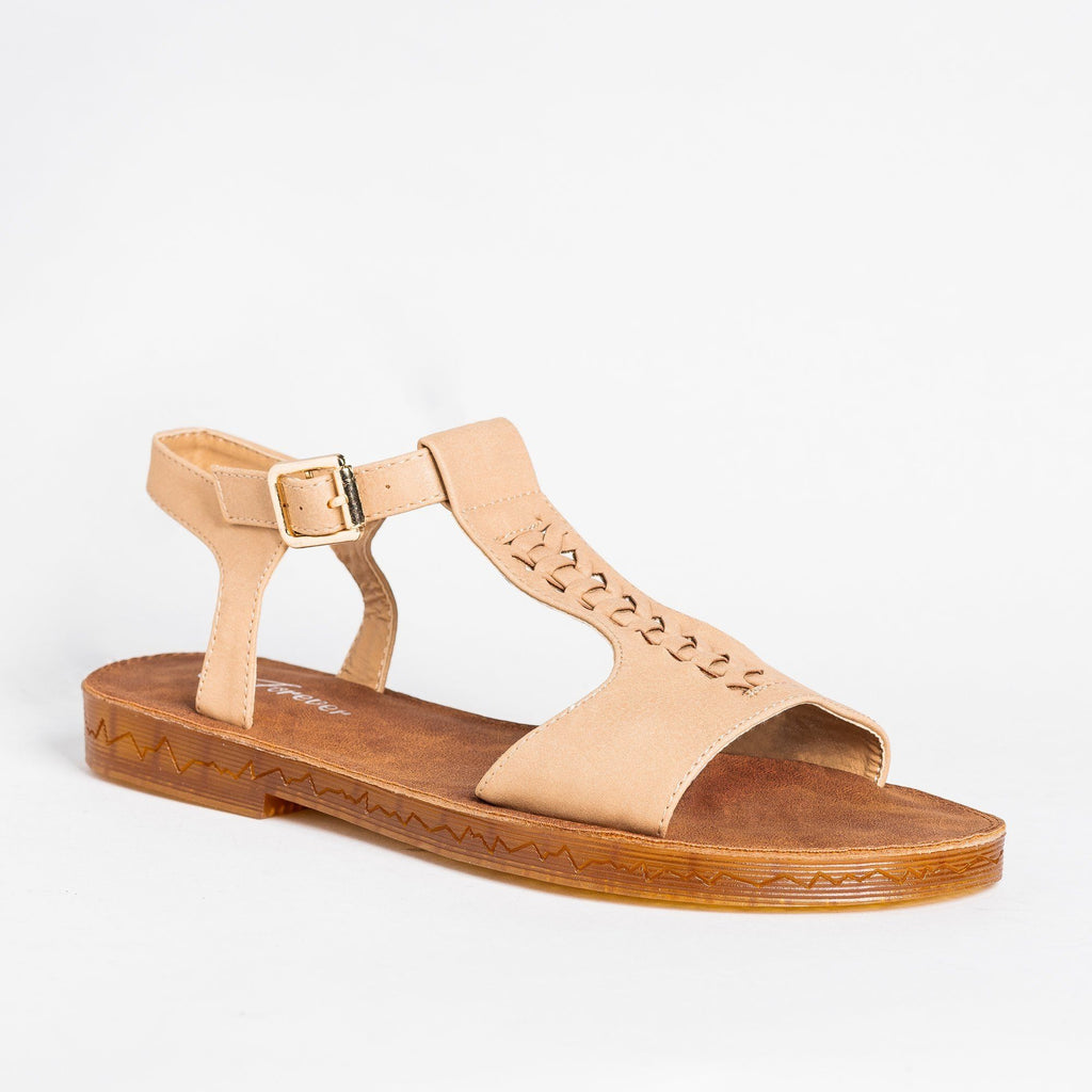 Womens Braided T-Strap Sandals - Forever - Taupe / 5