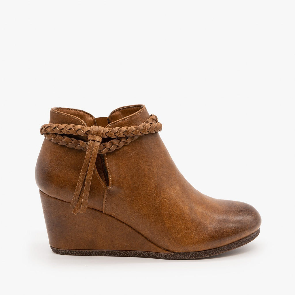 Womens Braided Tassel Wedge Booties - Mata - Tan / 5