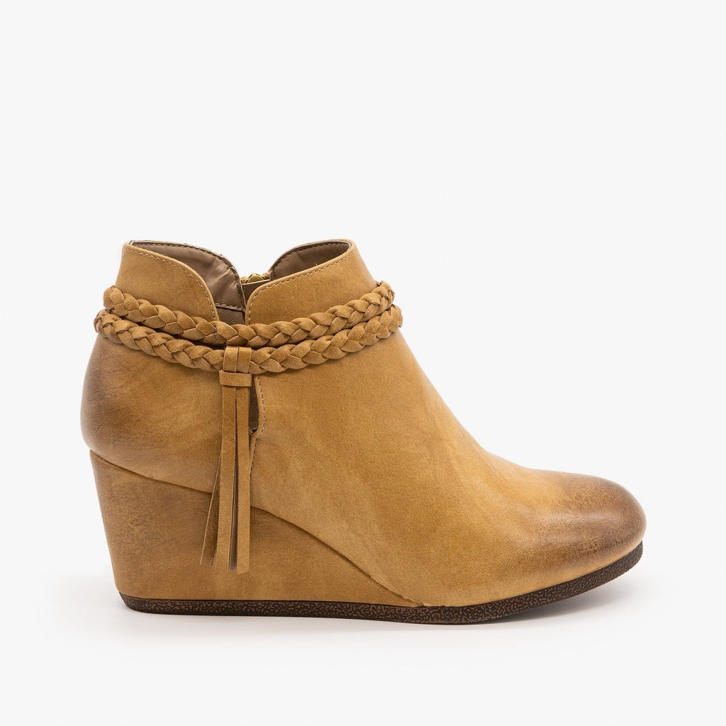 Womens Braided Tassel Wedge Booties - Mata - Beige / 5