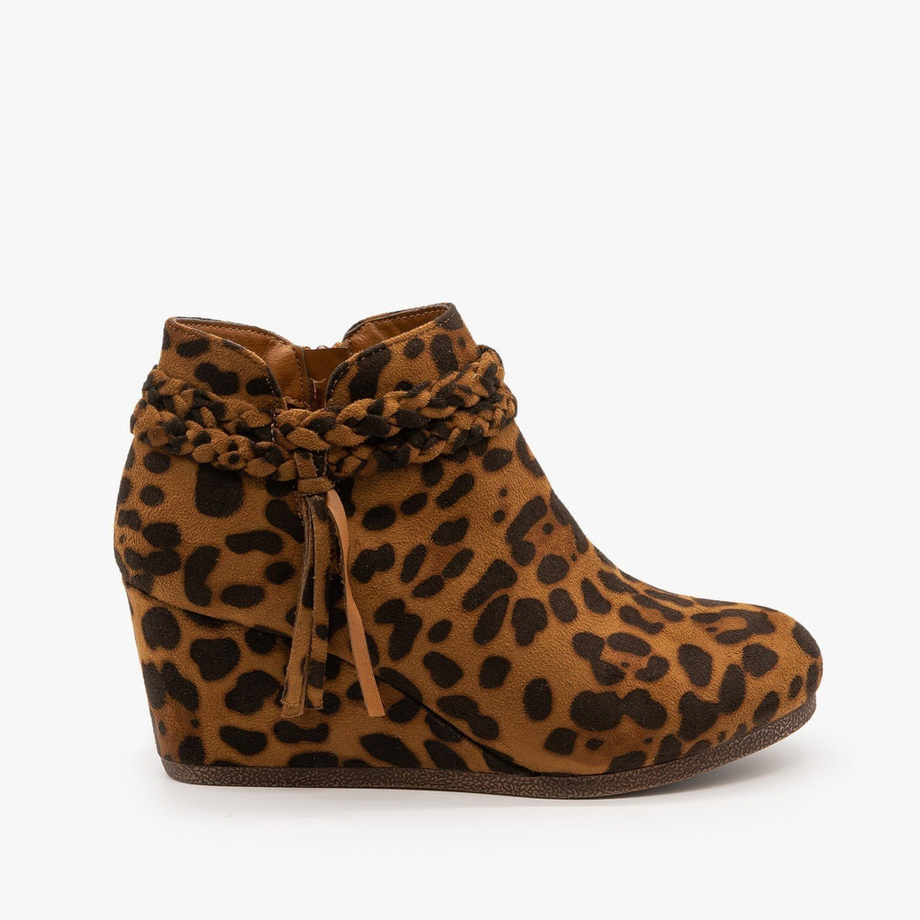 Womens Braided Tassel Wedge Booties - Mata - Leopard / 5