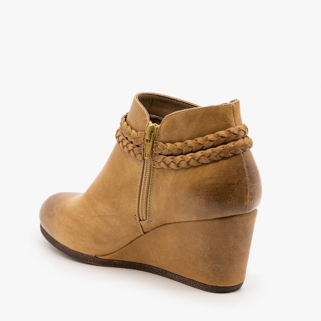 Womens Braided Tassel Wedge Booties - Mata