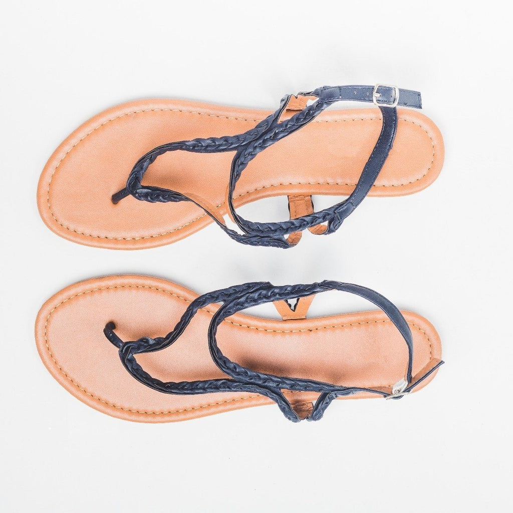 Womens Braided Thong Sandal - Olivia Miller - Navy / 5.5