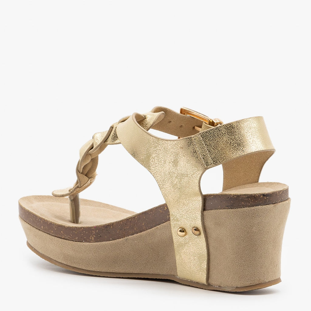 Womens Braided Buckle Wedges - Nature Breeze