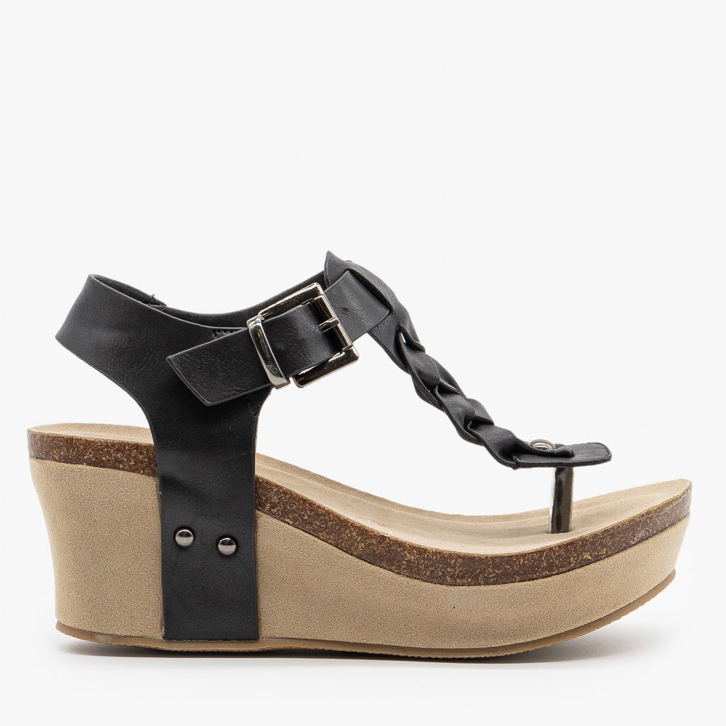 Womens Braided Buckle Wedges - Nature Breeze - Black / 5